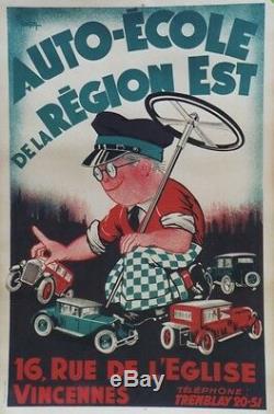 AUTO-ECOLE de la REGION EST Affiche originale entoilée Litho Cl. CAHON 85x125cm