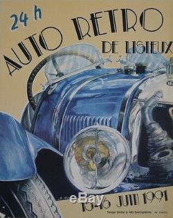 AUTO RETRO DE LISIEUX 1991 Affiche originale entoilée Sérigraphie S. GERAULT