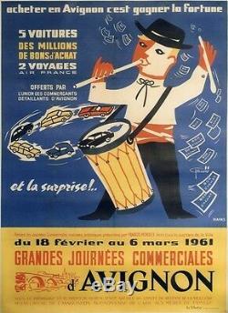 AVIGNON GRANDES JOURNEES COMMERCIALES 1961Affiche originale entoilée 122x164cm