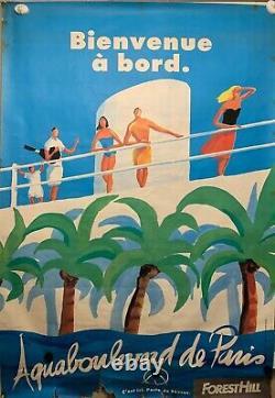 Affiche Ancienne AQUABOULEVARD de PARIS Original Vintage Poster 118X168