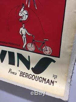 Affiche Ancienne Cirque Darwins Cycle Bergougnan Rare Original Poster