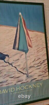 Affiche Ancienne Originale Poster 1988 David Hockney rétrospective Musée D'art