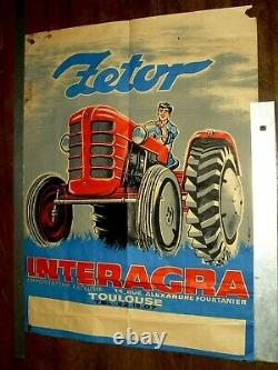 Affiche Ancienne Tracteur ZETOR An 50 Litho M Millot Tractor Traktor Poster