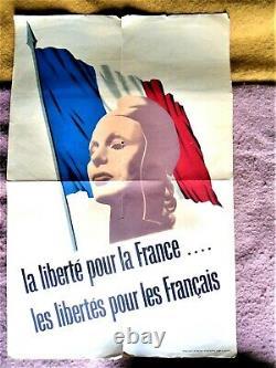 Affiche Authentique Ww2 / Original Poster / Les Francais En Angleterre 49 X 74