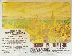 Affiche Litho Originale Poster 1910 Rosot Fête Des Fleurs Redon Ille-et-vilaine