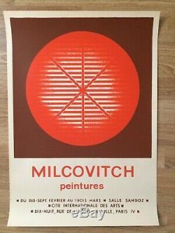 Affiche Original poster Mircea MILCOVITCH Peintures Cité inter. Paris 1972