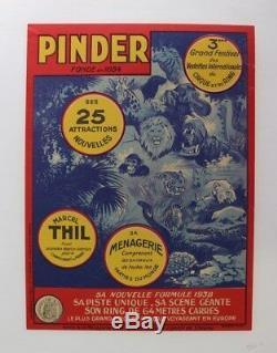 Affiche Originale Boxe Boxing Cirque Circus Poster Pinder Thil Menagerie 1938