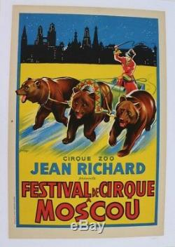 Affiche Originale Circus Poster Cirque Jean Richard Ours Bear Moscou