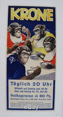 Affiche Originale Circus Poster Cirque Krone Monkeys