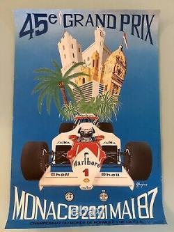 Affiche Originale Poster Grand Prix Monaco F1 Formule 1 1987