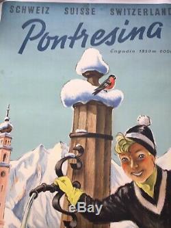 Affiche Poster Original 1955 Pontresina Engadin Swiss Schweiz Switzerland Ski