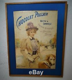 Affiche Publicitaire Originale Chocolat Poulain signée Abbema fin XIX Poster