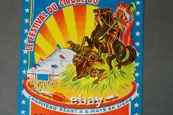 Affiche ancienne cirque originale les frères Francki 1960, vintage CIRCUS POSTER
