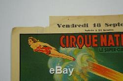 Affiche ancienne originale cirque cirque National, ANTIQUE CIRCUS POSTER