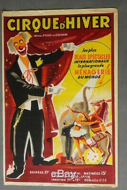 Affiche ancienne originale cirque d hiver, vintage CIRCUS POSTER