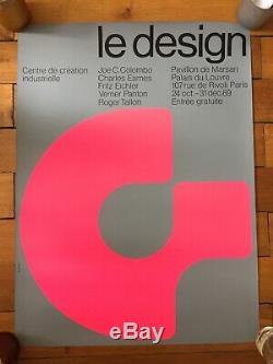 Affiche ancienne originale exposition Le design Widmer 1969 vintage poster