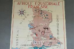 Affiche coloniale originale, Choain Audiberti. J Afrique équatoriale Française