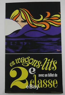Affiche lithographie original sncf G Benard En wagons lits 1970 old train poster