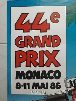 Affiche originale 44e Grand Prix de Monaco 8-11 mai 1986 J. Grognet F1 Formule 1