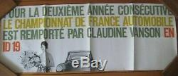 Affiche originale CITROEN ID19 DS Champion de France Automobile No Brochure