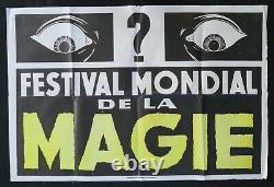 Affiche originale FESTIVAL MONDIAL DE LA MAGIE poster prestidigitateur magic