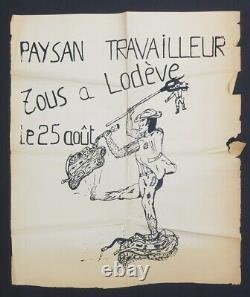 Affiche originale LARZAC TOUS A LODEVE LE 25 AOUT poster 1968 650
