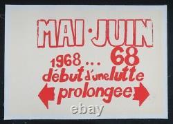 Affiche originale MAI JUIN 1968 68 DEBUT D'UNE LUTTE PROLONGEE poster 569