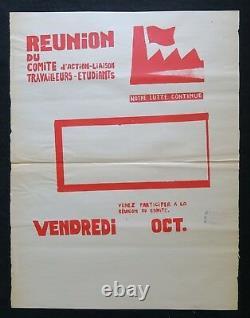 Affiche originale REUNION TRAVAILLEURS ETUDIANT 68 MARSEILLE poster may 1968 266