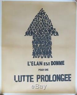 Affiche originale entoilée mai 68 LÉLAN EST DONNÉ french poster may 1968 150