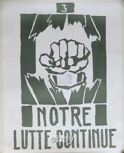 Affiche originale entoilée mai 68 NOTRE LUTTE CONTINUE french poster 1968 066