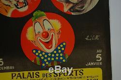 Affiche originale festival mondial cirque RENE CAILLE 1948, ANTIQUE CIRCUS POSTER