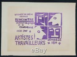 Affiche originale mai 68 ARTISTES ATELIER COURNEUVE entoilée poster 1968 324