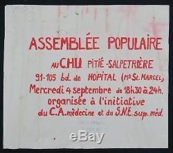 Affiche originale mai 68 ASSEMBLÉE POPULAIRE CHU poster 1968 sérigraphie 337