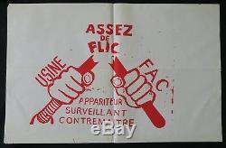 Affiche originale mai 68 ASSEZ DE FLIC Usine Fac appariteur poster 1968 080