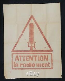 Affiche originale mai 68 ATTENTION LA RADIO MENT poster may 1968 137