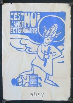 Affiche originale mai 68 C'EST MOI L'ANGE EXTERMINATEUR De Gaulle poster 423