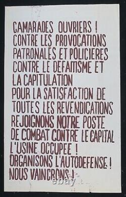 Affiche originale mai 68 CAMARADES OUVRIERS PROVOCATIONS poster 1968 469