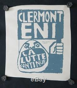 Affiche originale mai 68 CLERMONT ENI LA LUTTE CONTINUE poster may 1968 019