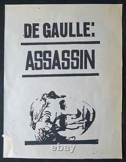 Affiche originale mai 68 DE GAULLE ASSASSIN poster may 1968 085