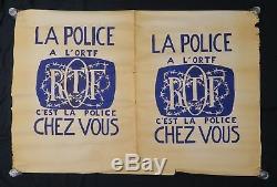 Affiche originale mai 68 DOUBLE LA POLICE A L'ORTF poster may 1968 108