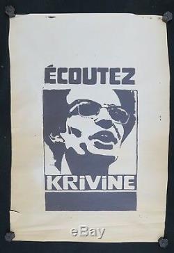 Affiche originale mai 68 ECOUTEZ KRIVINE noir french poster 1968 023