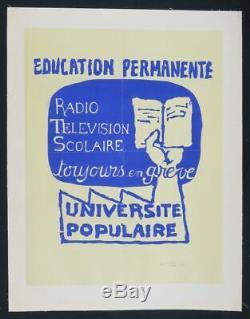 Affiche originale mai 68 EDUCATION PERMANENTE entoilée poster 1968 325