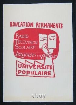 Affiche originale mai 68 EDUCATION PERMANENTE université poster 1968 563