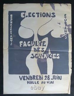 Affiche originale mai 68 ELECTION FACULTÉ DES SCIENCES JUIN poster mai 1968 039