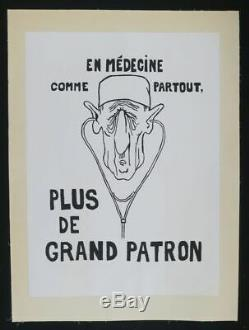Affiche originale mai 68 EN MÉDECINE DE GAULLE entoilée lined poster 1968 318