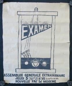 Affiche originale mai 68 EXAMEN GUILLOTINE FAC DE MEDECINE poster 1968 422