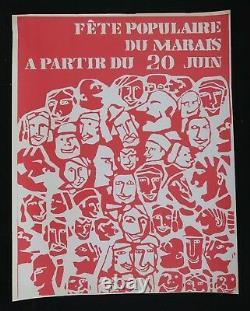 Affiche originale mai 68 FÊTE POPULAIRE DU MARAIS poster 1968 168