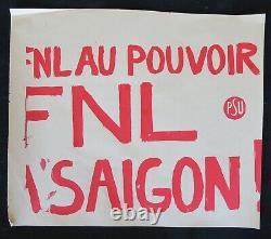 Affiche originale mai 68 FNL AU POUVOIR A SAIGON PSU poster 1968 583