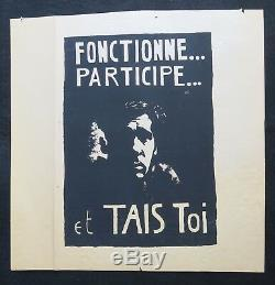 Affiche originale mai 68 FONCTIONNE PARTICIPE ET TAIS TOI poster may 1968 285
