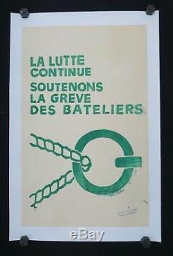 Affiche originale mai 68 GREVE DES BATELIERS poster may 1968 224